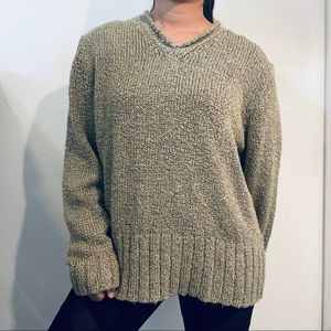 Carolyn Taylor Tan V Neck Knitted Sweater